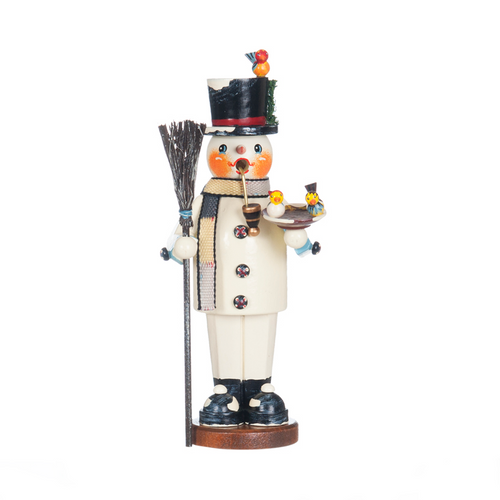 Snowman with Broom and Birds