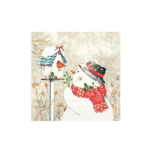 Snowman with Birdhouse Napkins