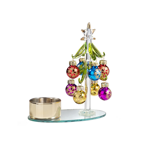 Glass Tree Candleholder with Colorful Balls