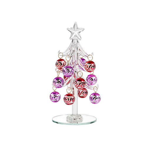 Clear Glass Tree with Red and Pink Balls