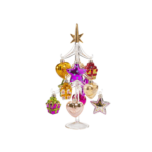 Clear Glass Tree with Pink and Gold Ornaments