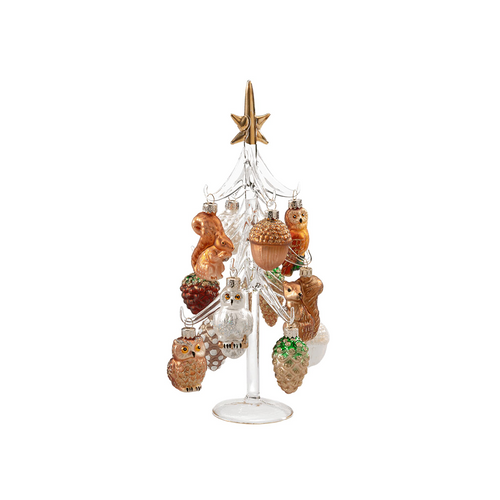 Clear Glass Tree with Forest Ornaments