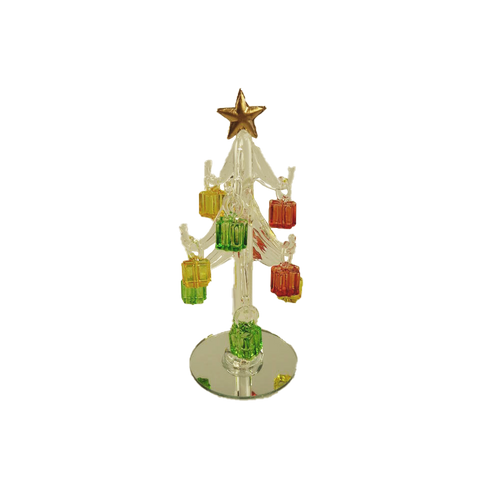 Clear Glass Tree with Gifts