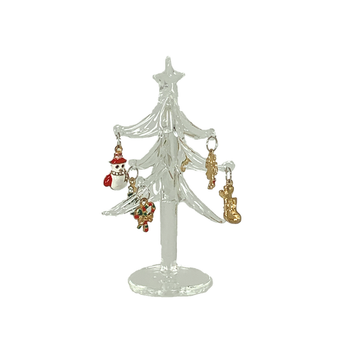 Clear Glass Tree with Mini Ornaments