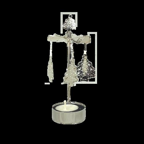 Silver Metal Pyramid with Christmas Trees