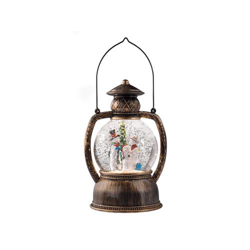 Bronze Lantern with Snowman Family