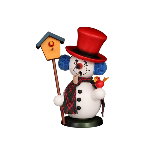 Colorful Snowman with Birdhouse