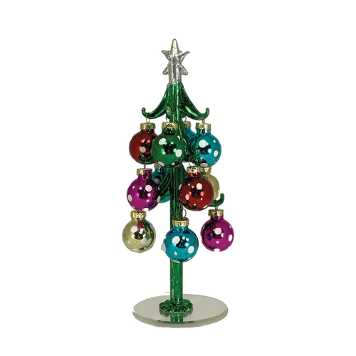 Green Glass Tree with Colorful Ornaments