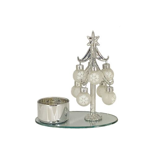 Silver Glass Tree Candleholder