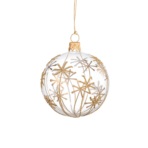 Glass Bauble with Gold Stars