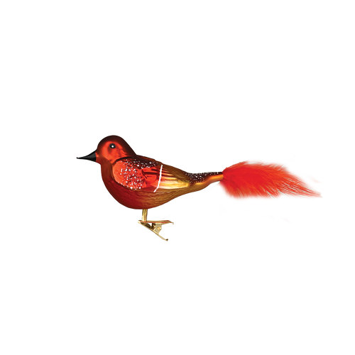 Red and Copper Glass Bird