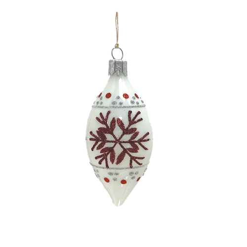 White & Red Snowflake Spire Small