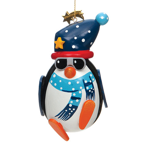 Winter Funny Penguin Wood Ornament