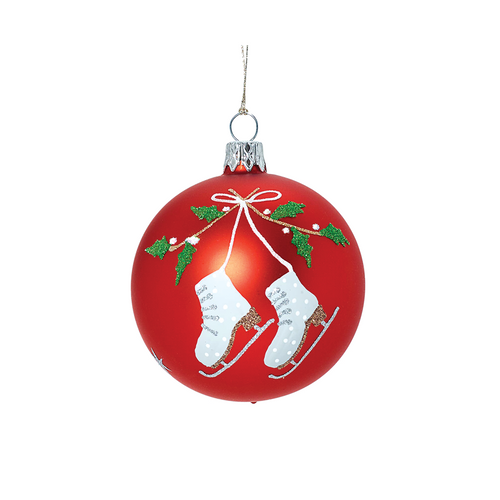 Red Ball with Ice Skates and Holly