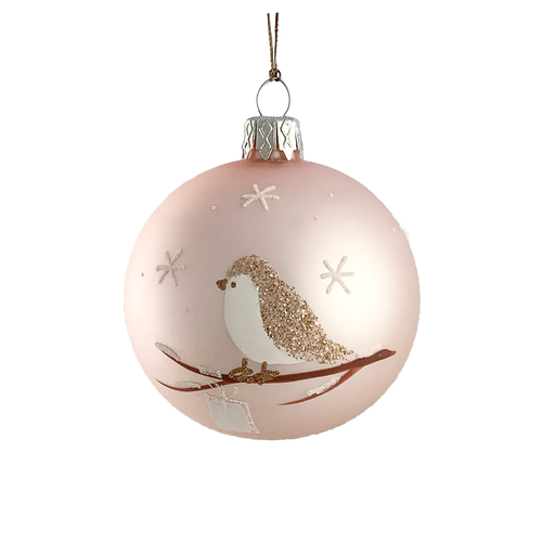 Pink Ornament with Bird on Twig