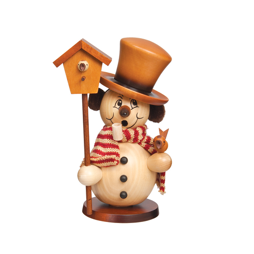 Natural Snowman with Birdhouse