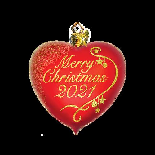 Merry Christmas Glass Heart 2021