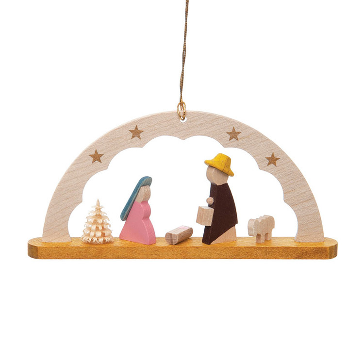 Holy Family Under Stars Wood Ornament