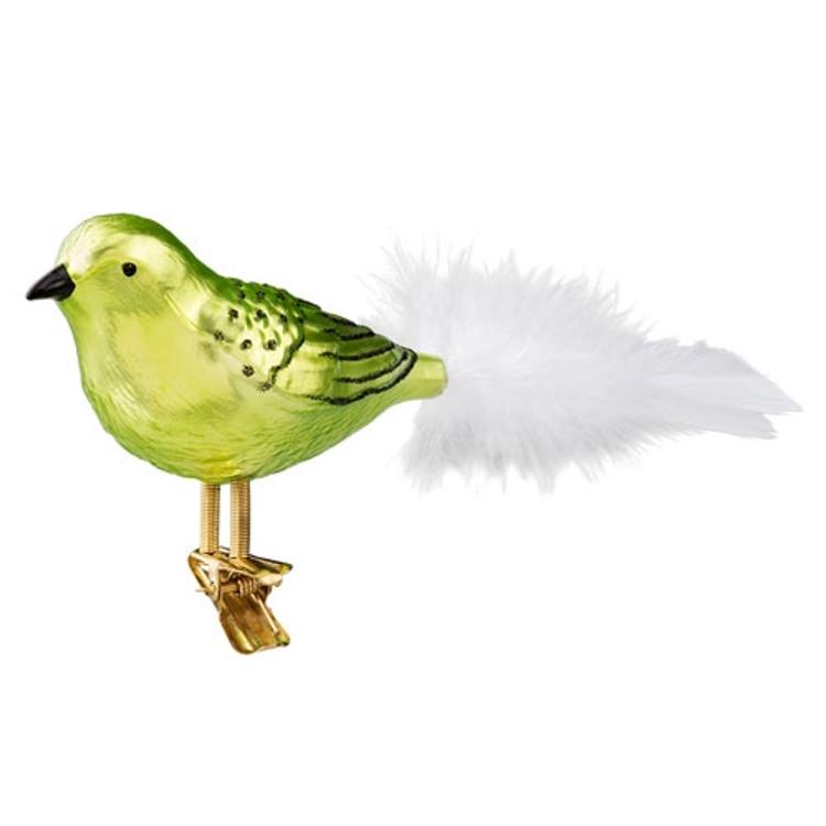 Green and Black Bird Glass Ornament