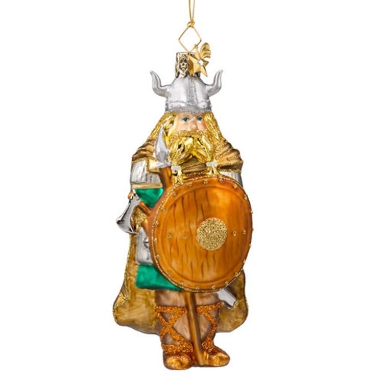 Brave Viking Glass Ornament