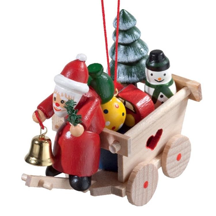 Cart with Santa Wood Ornament