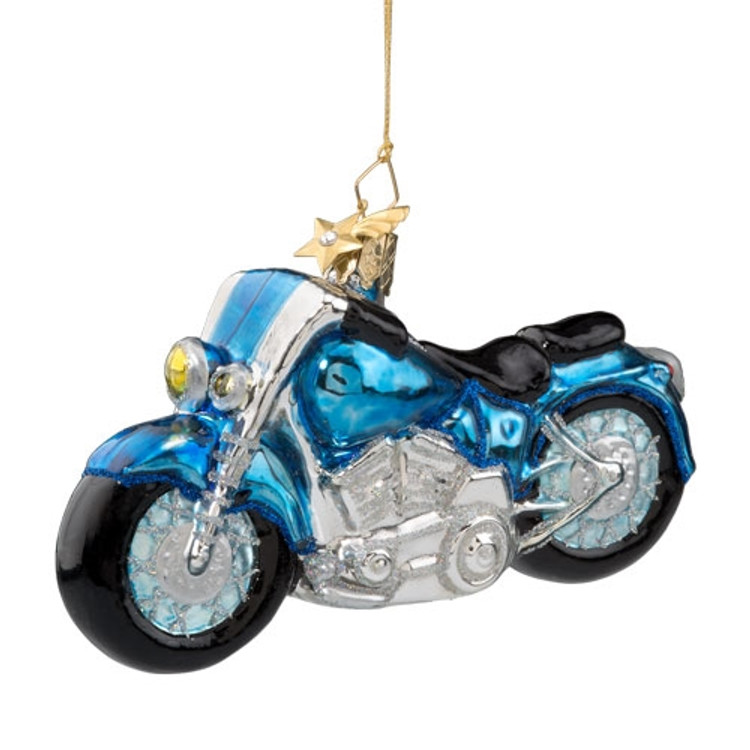 Blue Motorcycle Glass Ornament