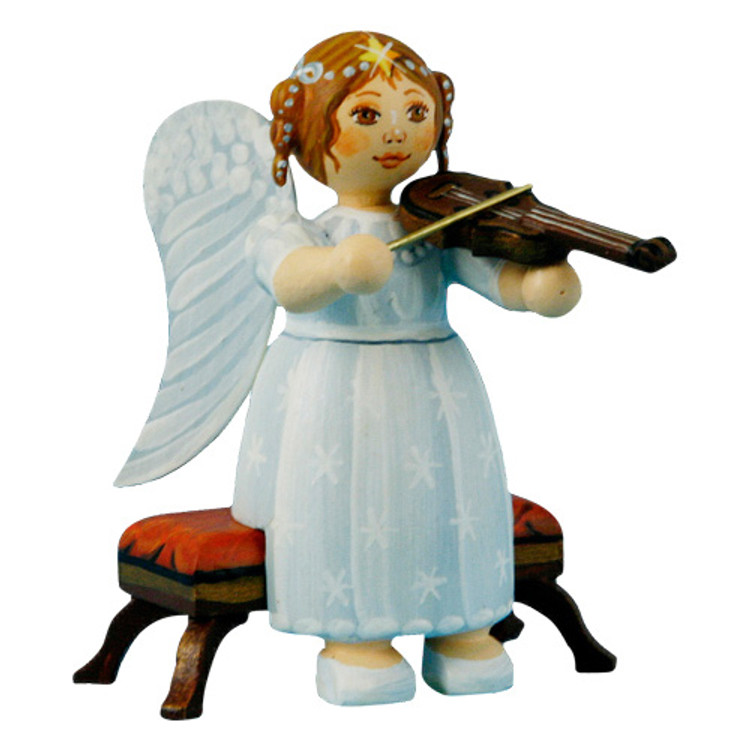 White Dress Angel Sitting with Violin
