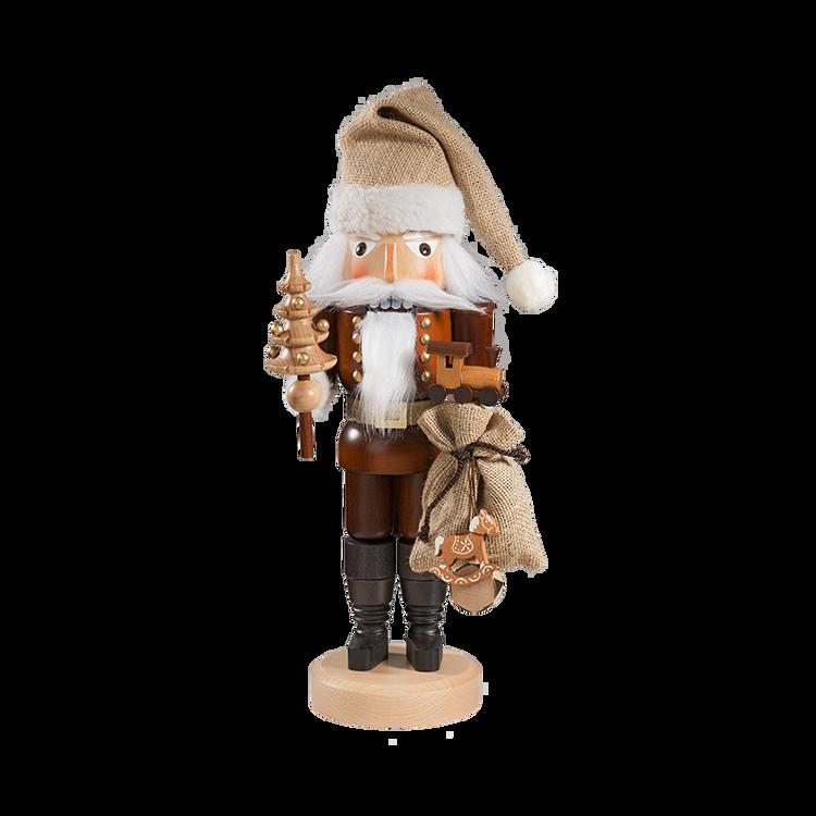 Natural Santa with Tree and Gifts Nutcracker
