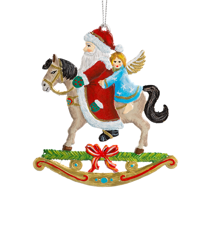 Santa and Angel on Rocking Horse Pewter Ornament