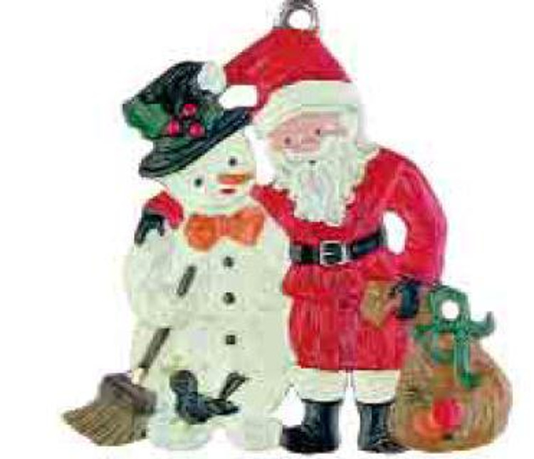 Snowman with Santa Claus Pewter Ornament