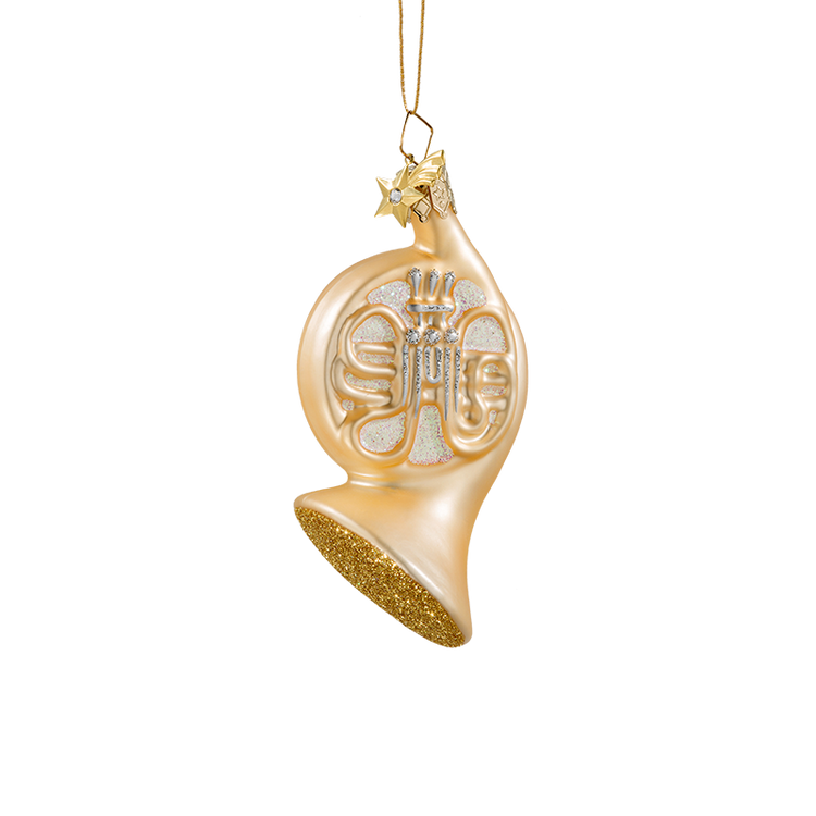Gold French Horn Glass Ornament