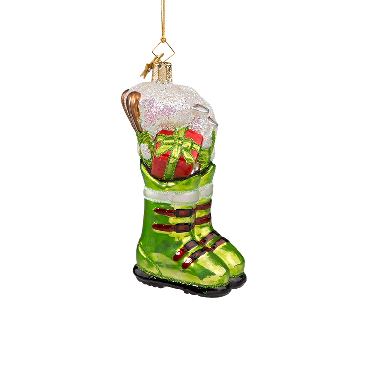 Ski Boots Glass Ornament