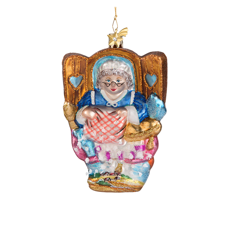 Mother Hubbard Glass Ornament