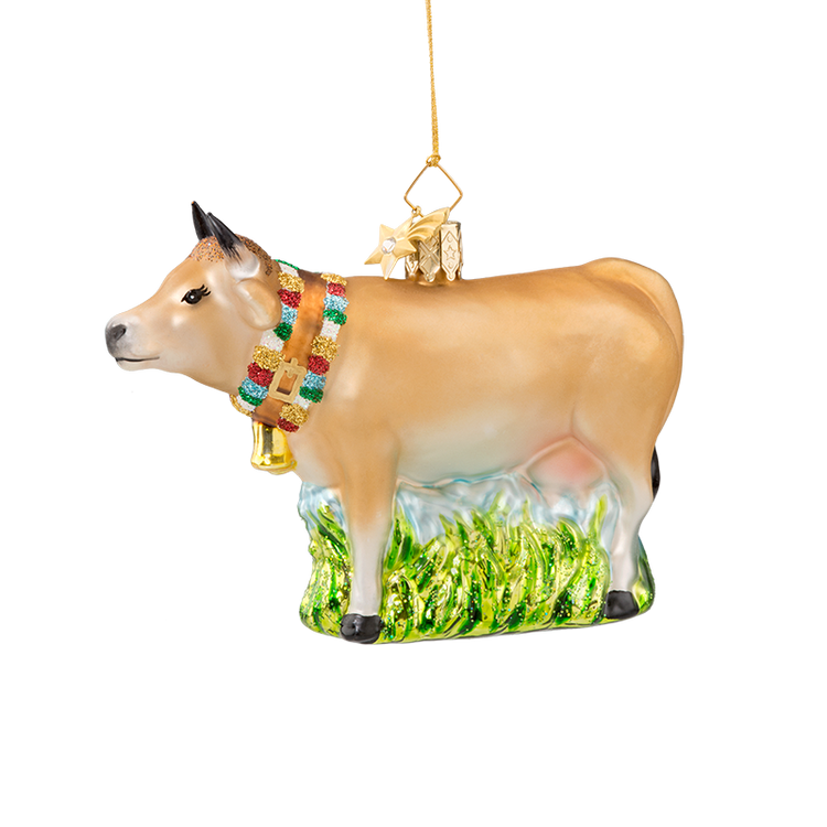 Animal Series Cow Glass Ornament