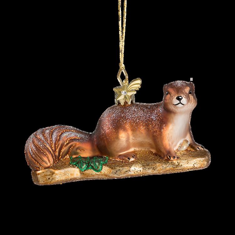 Winter Squirrel Glass Ornament