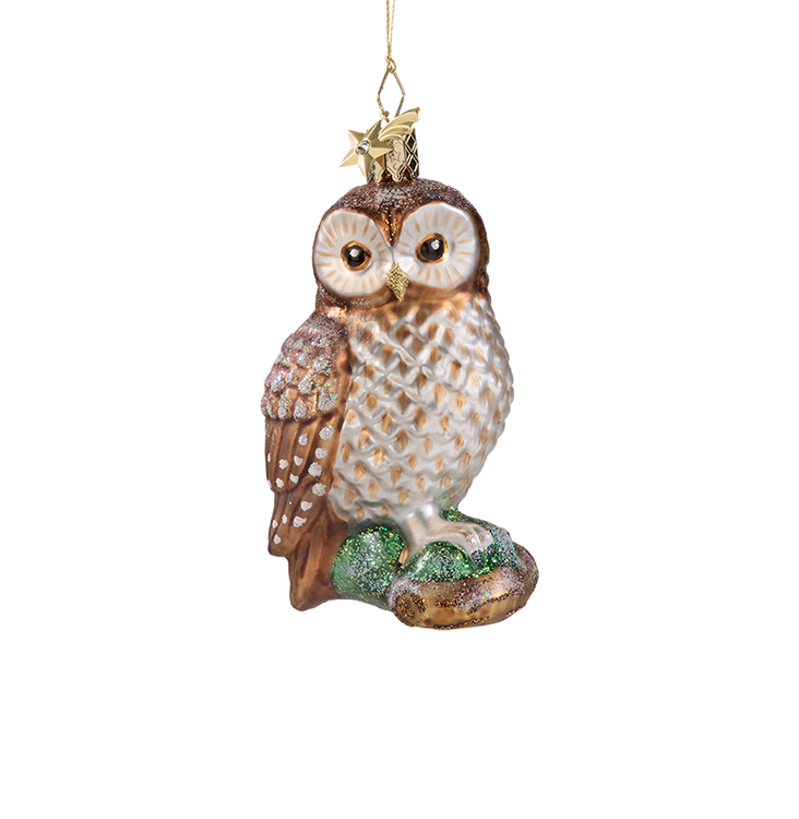 Owl on a Branch Glass Ornament