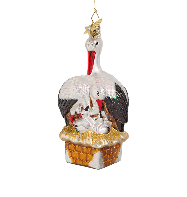 Stork Family Glass Ornament