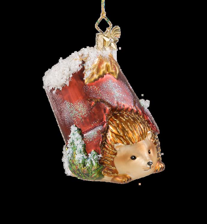 Hedgehog in Pot Glass Ornament