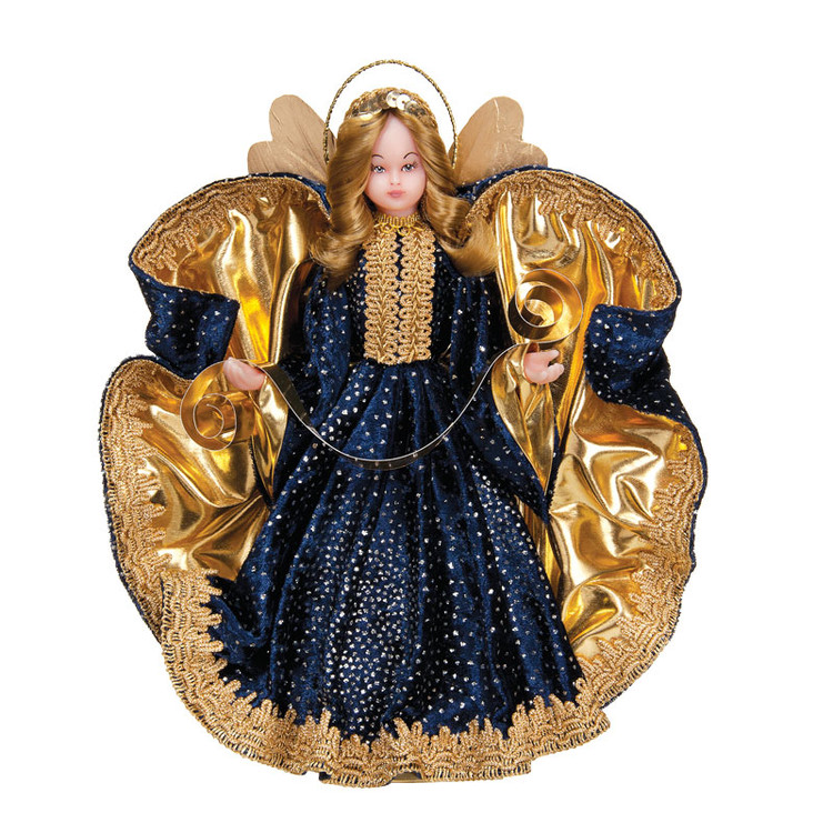 Wax Angel in Navy Gown with Gold Trim