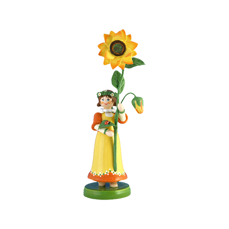 Wood Flowerchild Sunflower Figurine