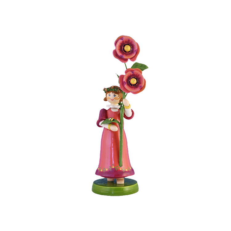 Wood Flowerchild Poppy Figurine