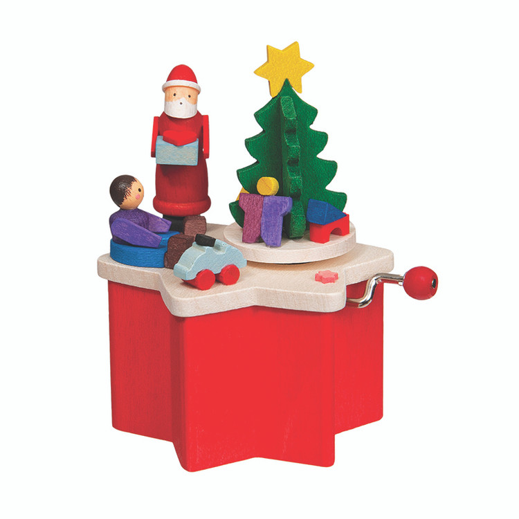 Santa Trinket Wood Music Box