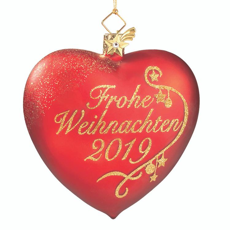Frohe Weihnachten Glass Heart 2019