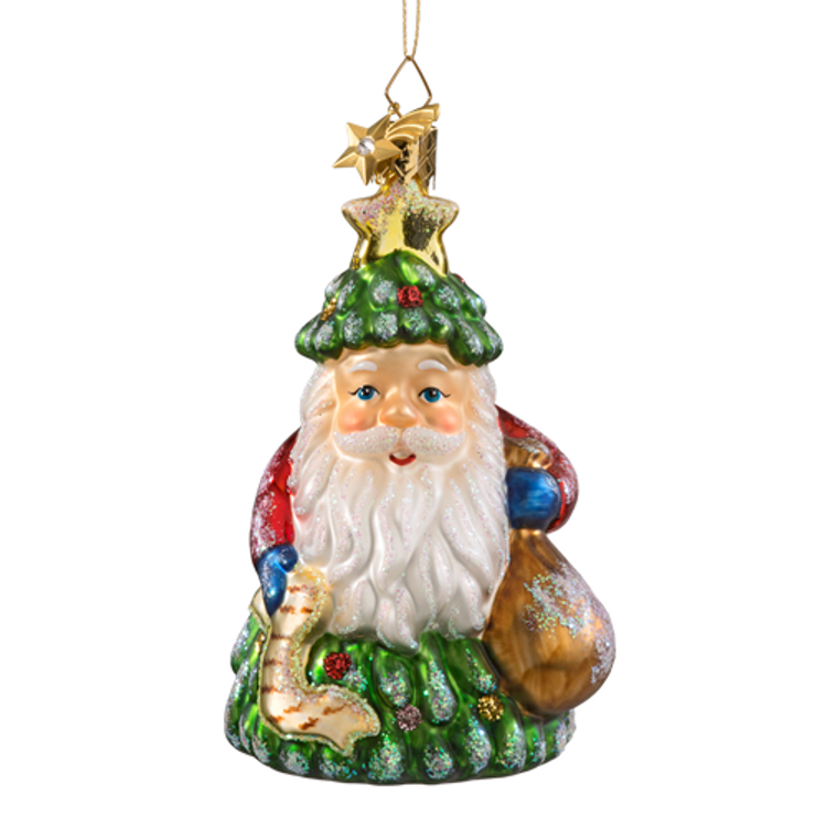 Santa Tree Glass Ornament