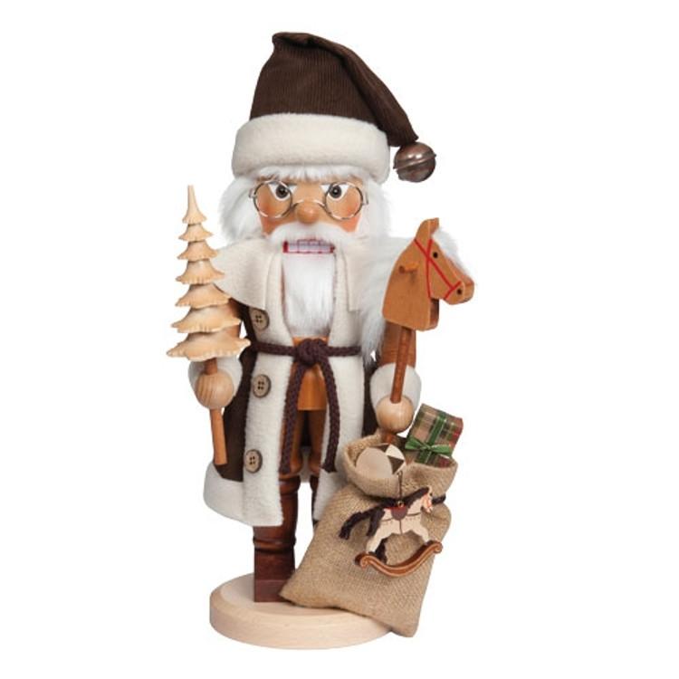 Natural Santa Holding a Tree and Toys