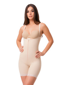 Body Suit Mid Thigh Length W/Suspender Buttocks Enhancing Compression Girdle W/Zipper