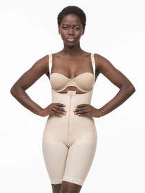 Body Suit W/ Suspenders Closed Buttocks Enhancing Compression Girdle