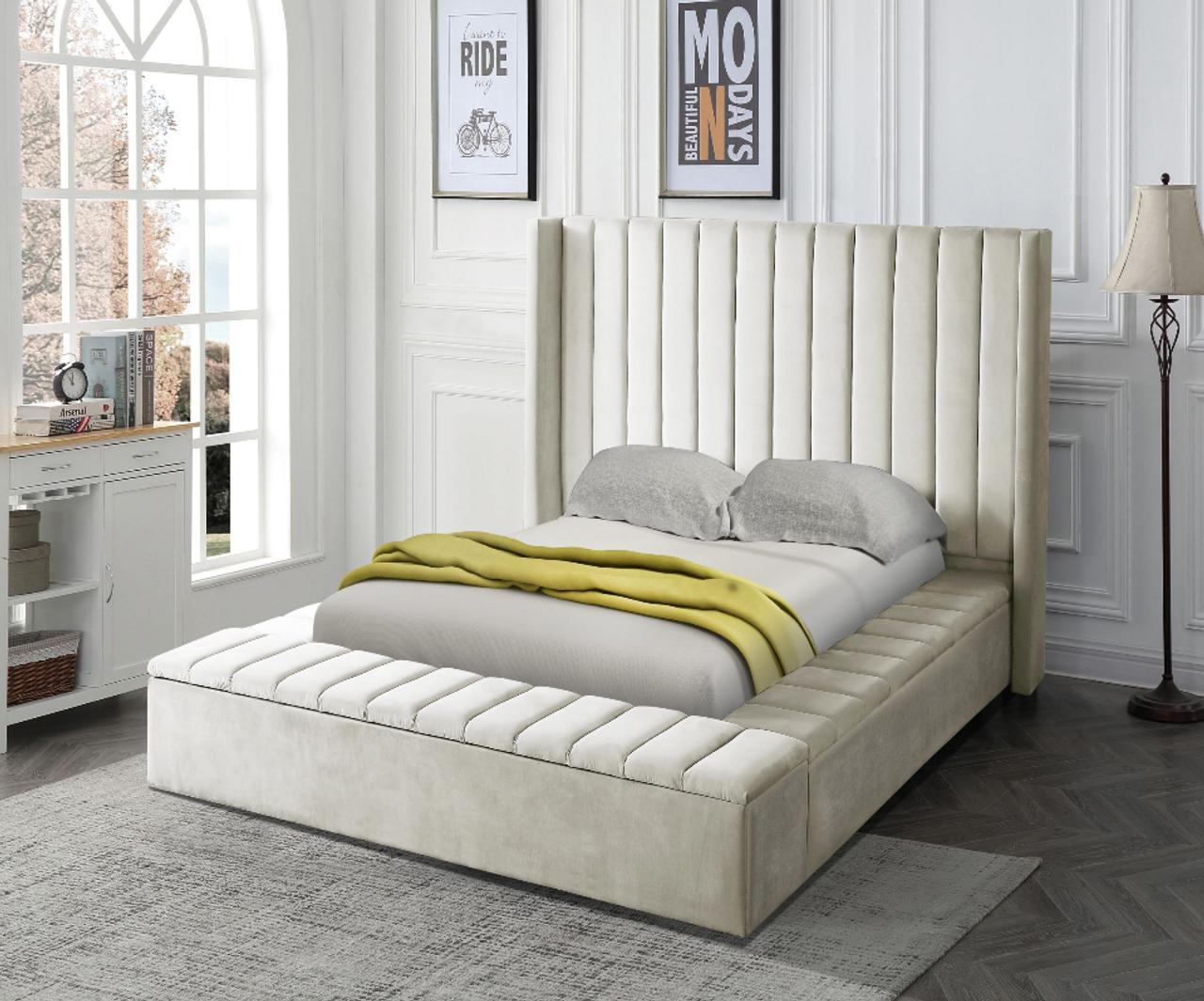 Black Upholstered Bed W Storage