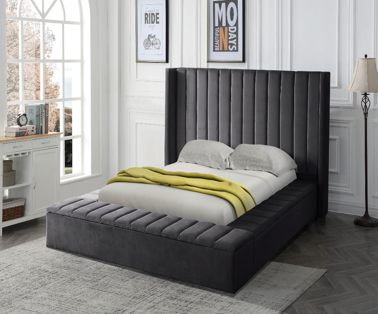 Gray Upholstered Bed W Storage