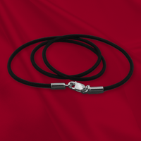 Black Leather Cord Necklace with Sterling Silver Clasp